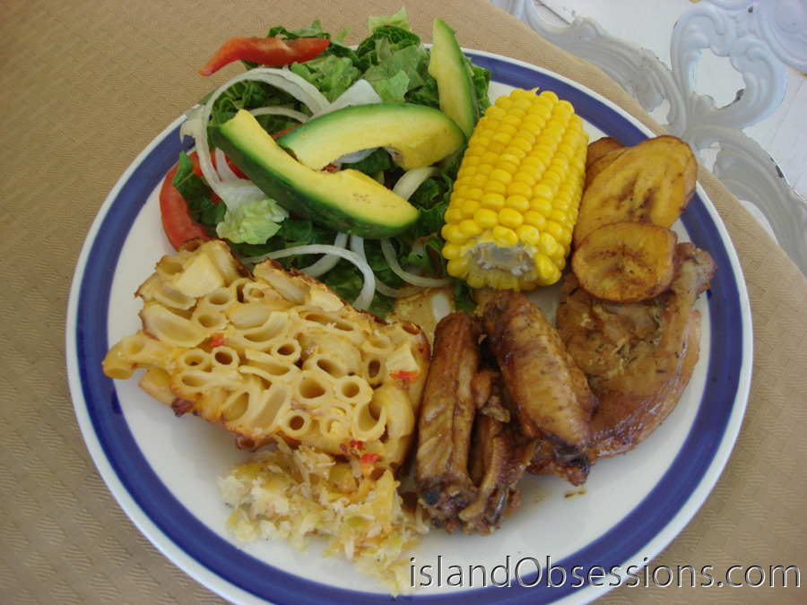 Home-cooked meal in Anguilla (plate one, anyway!)
