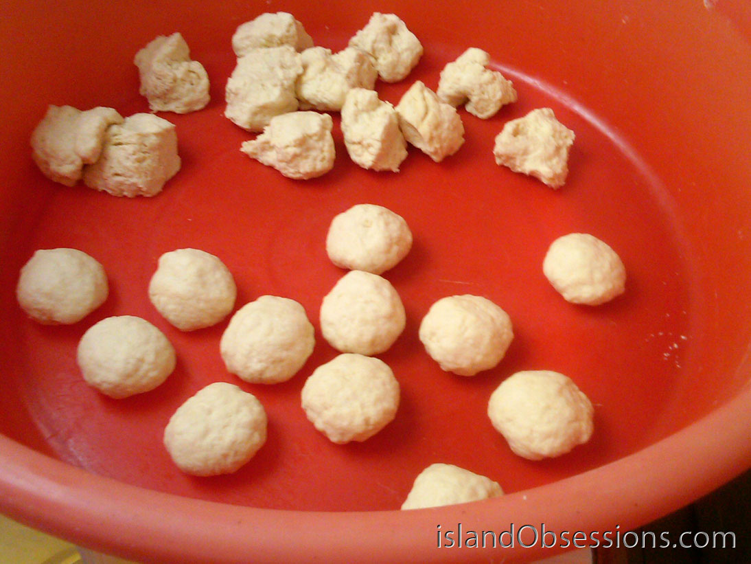Johnny Cakes: Roll small pieces of dough into balls