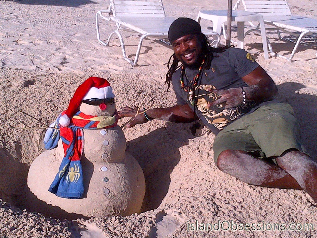 Garvey and our sand snowman